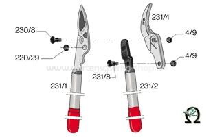 Felco 231, Zeichnung der Einzelteile