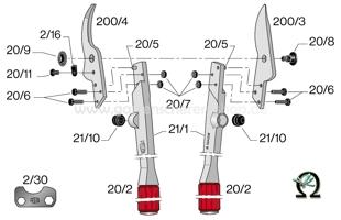 Felco 21, Zeichnung der Einzelteile