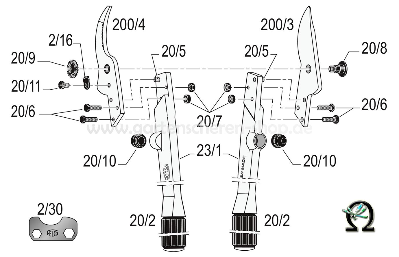Baumschere Felco 23, Explosionszeichnung