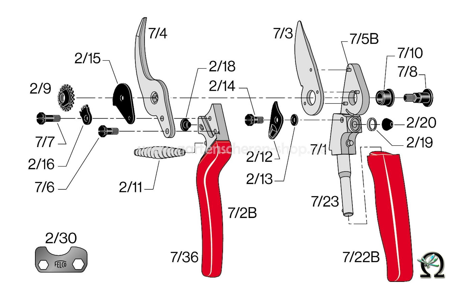 Rosenschere Felco 7, Zeichnung der Einzelteile