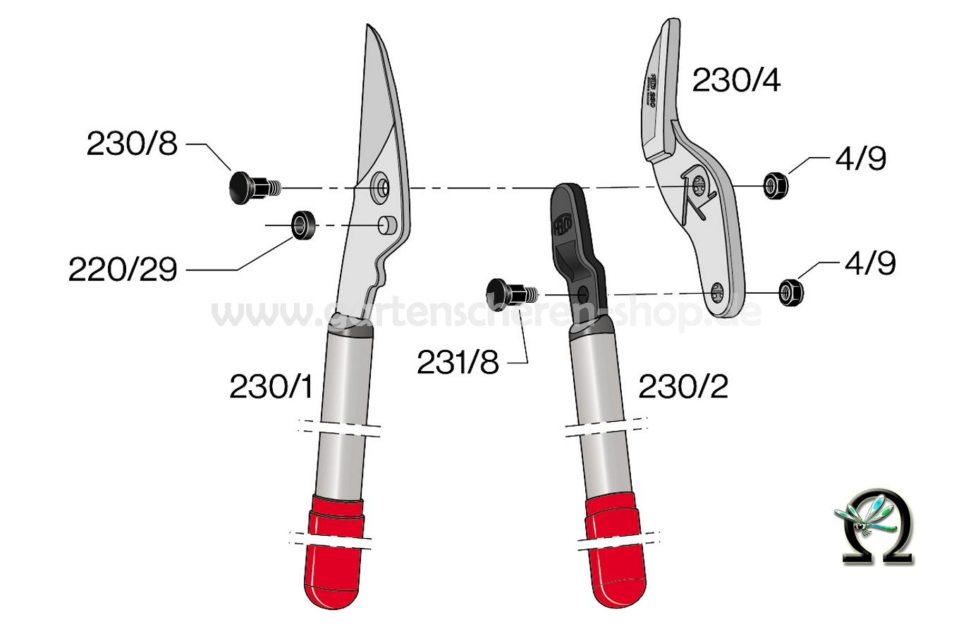 Felco 230, Zeichnung der Einzelteile